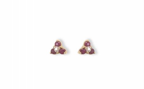 BB1334-14krt-geelgouden-oorbellen-6 Robijnen 0.34ct- 2 diamant 0.01ct