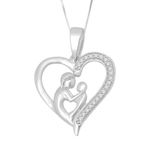 witgouden hanger van moeder met kind bezet met briljant geslepen diamanten