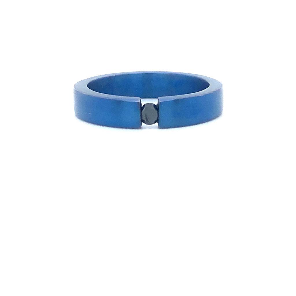 Titanium-va-Ring-blauw-Diamant-Zwart-0.10crt-briljant