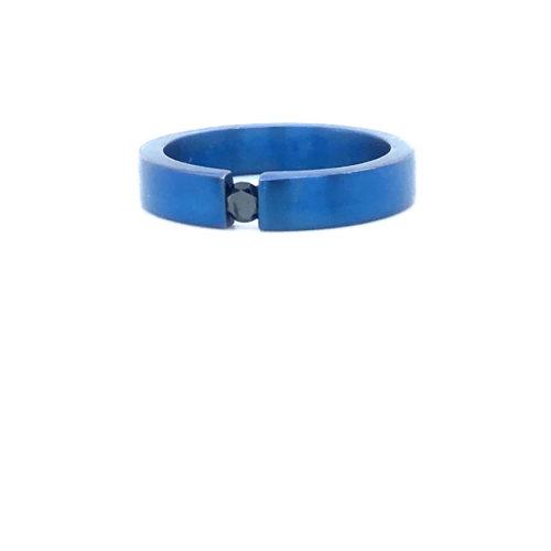 Titanium-Ring-blauw-Diamant-Zwart-0.10crt-briljant