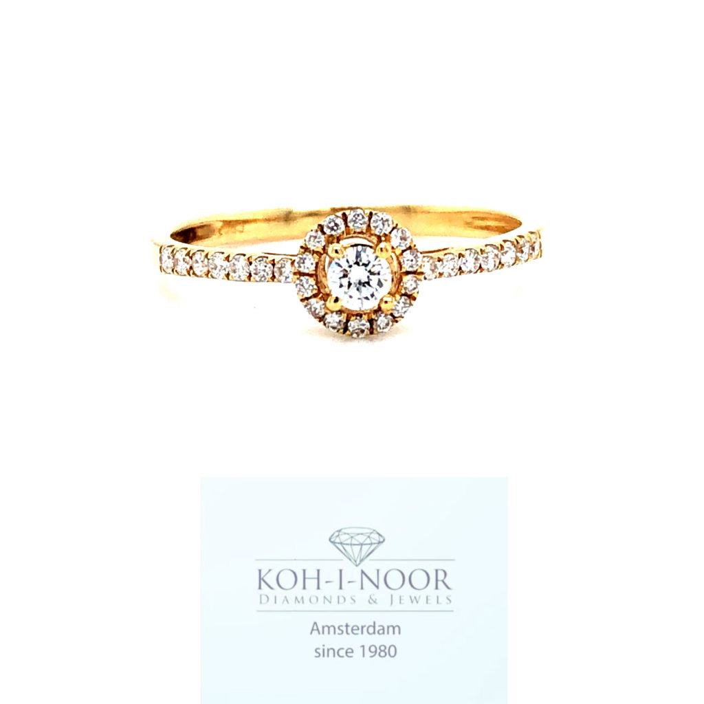 Diamanten halo ring geel goud