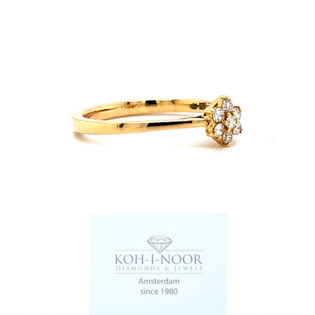 Diamanten rozet ring geel goud