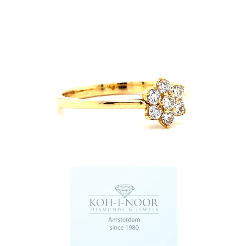 Diamnaten rozet bloem ring