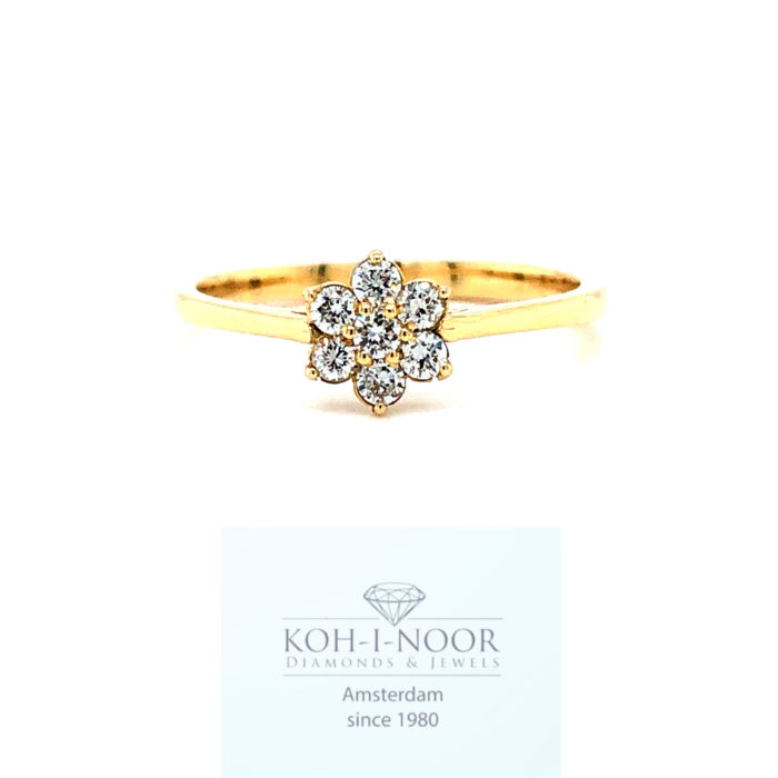 Diamanten rozet bloem ring