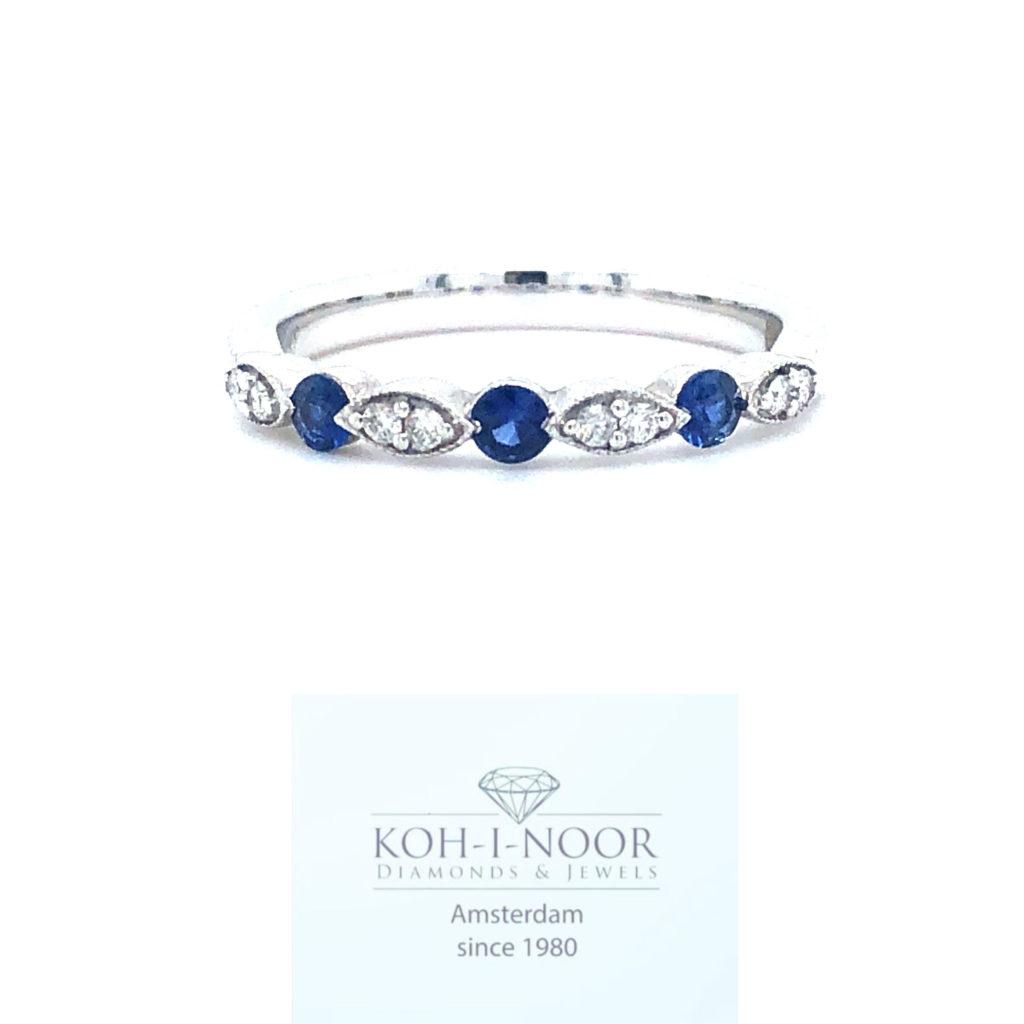 r8299-va-717-18krt-wit-goud-fantasie-rij-ring-briljant-8-0.08krt-diamant-twess-vs-3-0.22krt-saffier-17mt-53mt
