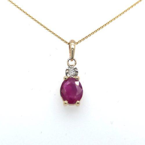 Gouden hanger robijn diamant 14krt geelgoud