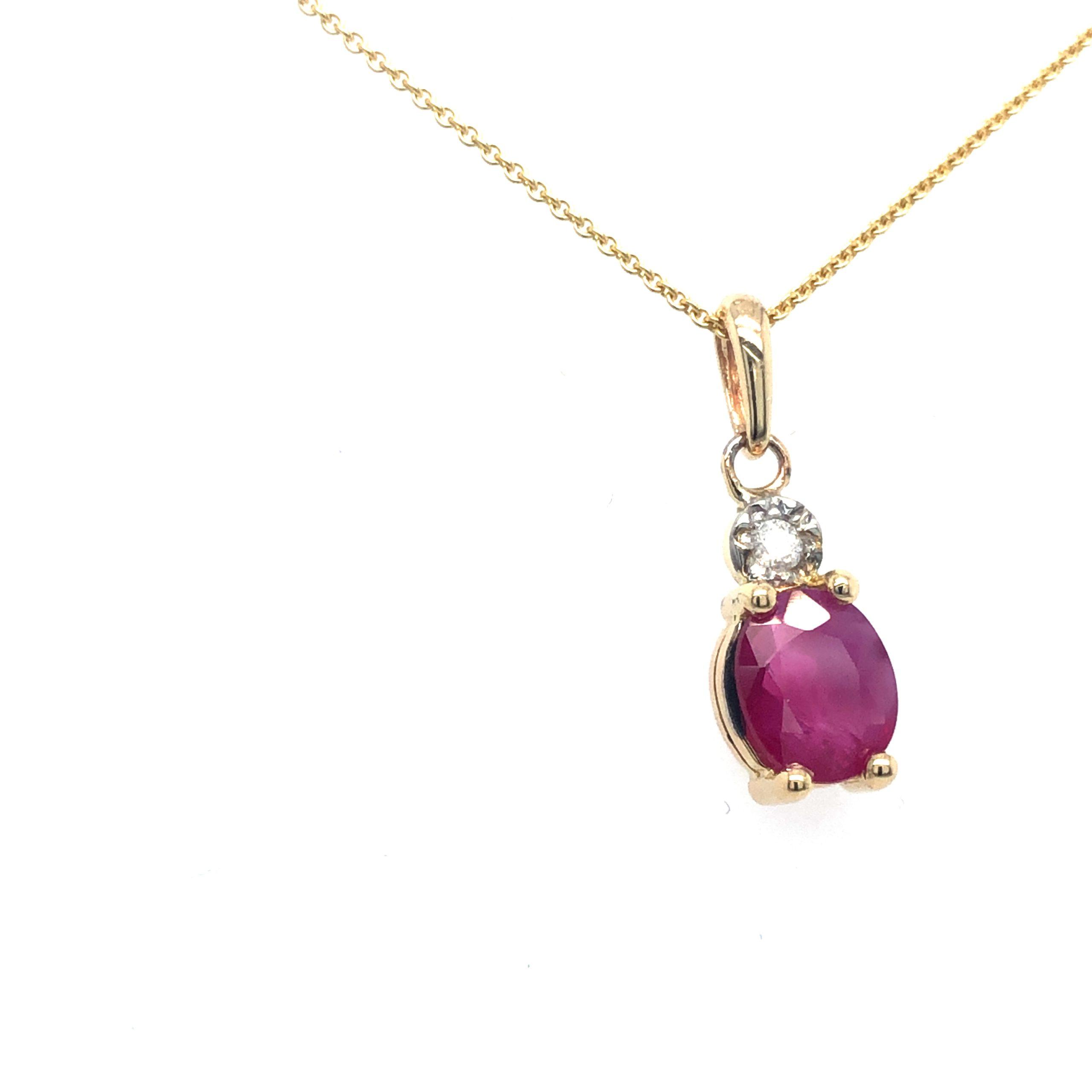 Gouden hanger met Robijn en Diamant zij gr