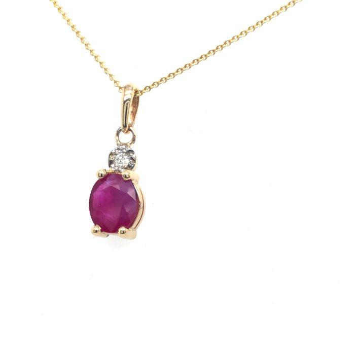 Gouden hanger robijn diamant 14krt geelgoud zij rechts