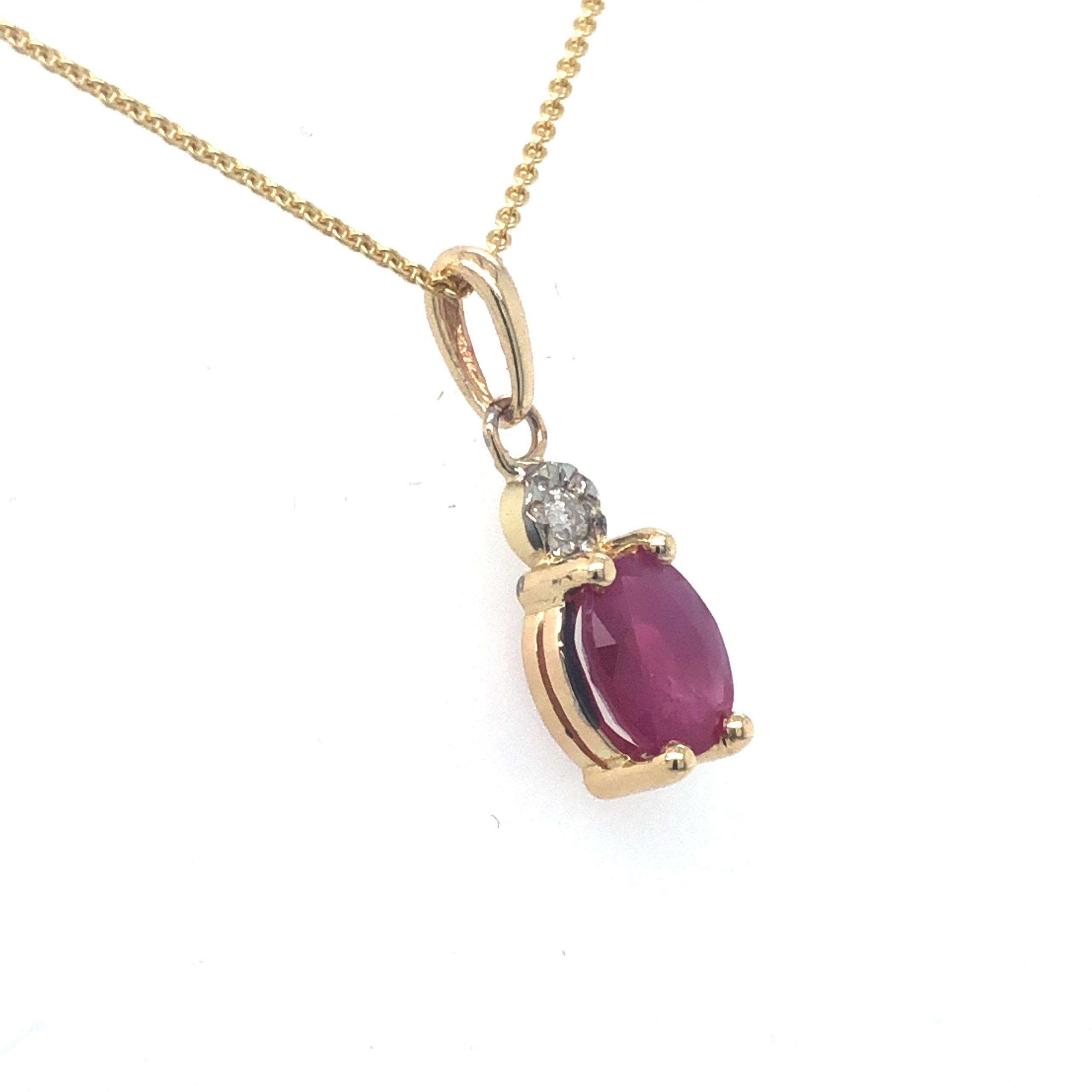 Gouden hanger robijn diamant 14krt geelgoud zij l